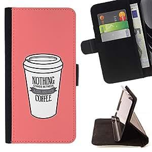 Momo Phone Case / Flip Funda de Cuero Case Cover - Copa rosa minimalista cafeína Bebida - Samsung Galaxy S6
