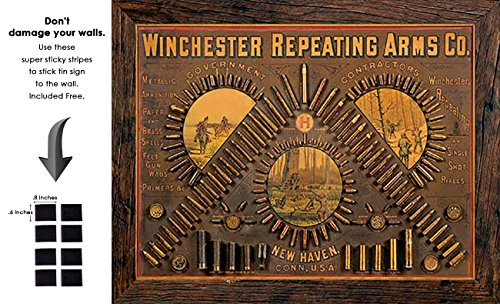 Shop72 - Winchester - Repeating Arms Tin Sign Retro Vintage Distrssed - with Sticky Stripes No Damage to Walls ()