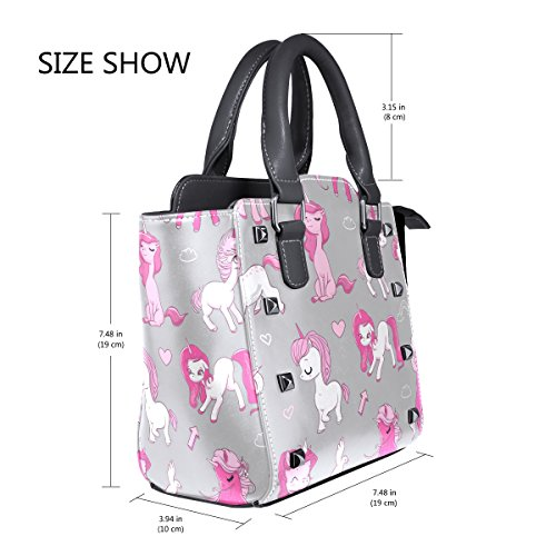 Top Pink Unicorns Handle Shoulder Handbags Women's Leather PU TIZORAX Bags Ypwd7qw