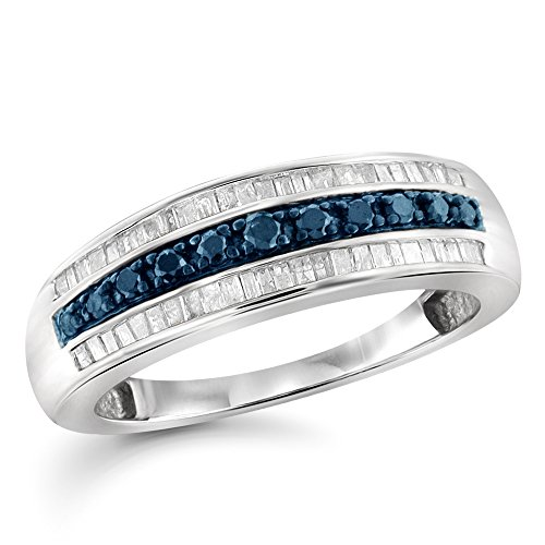 1/2 Carat T.W. Blue And White Diamond Sterling Silver Band by Jewelexcess