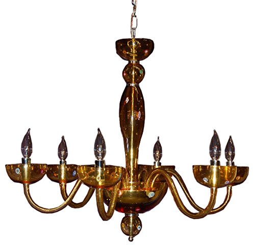 Authentic Hand Made Murano/Murini Glass Amber Chandelier Made in Italy