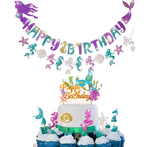Mermaid Party Decoration - Glitter Mermaid Shape Birthday Banner+Mermaid Seashell Banner ,1 Pcs Mermaid Happy Birthday Cake Topper and 24 Pcs (6 Style) Mermaid Cupcake Toppers for Baby Shower,Mermaid Theme Party ,Birthday Party ,Under The Sea Party.