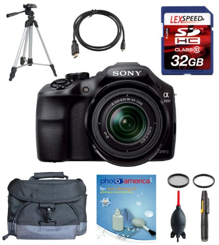 Sony a3000 alpha a3000 ILCE-3000K/B, ILCE3000 w/ 18-55mm Zoom Lens + Deluxe Accesory Kit, Best Gadgets