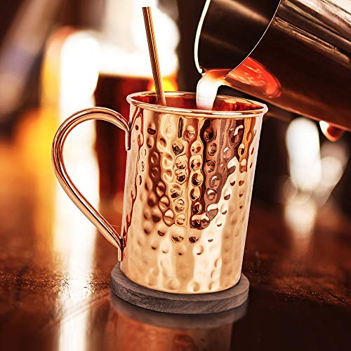 Moscow Mule Copper Mugs Set :4 16 oz. Solid Genuine Copper Mugs : Cylindrical Shape : Handmade in India, 4 Straws, 4 Wood Coasters, Shot Glass : Comes in Elegant Gift Box, by Yooreka by Yooreka (Image #2)