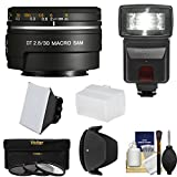 Sony Alpha A-Mount 30mm f/2.8 DT Macro SAM Lens with Flash + 3 Filters + Diffusers + Hood + Kit for A37, A58, A65, A68, A77 II, A99 Cameras