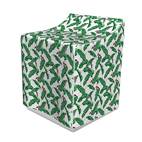 Ambesonne Banana Leaf Washer Cover, Lush Jungle Leafage Flowering Stems of Island Tree Hawaiian Aloha Pattern, Decorative Accent for Laundromats, 29