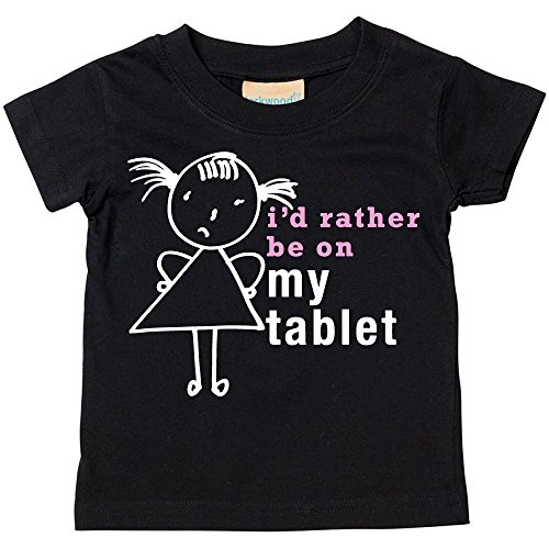 Price comparison product image 60 Second Makeover Limited Big Girls' I'd Rather Be On My Tablet T-Shirt Daugh 7-8 Years Black