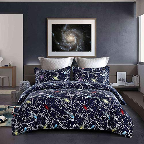 - ENCOFT Galaxy Bedding Stars and White Prints Deep Blue Duvet Cover Set, King Size Outer Space Bed Sheets (1duvet Cover, 2pillowcase)