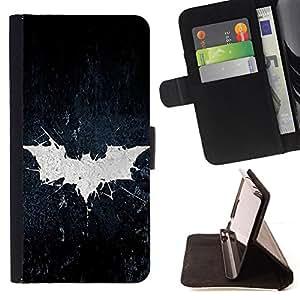 - Grunge Bat Sign - - Prima caja de la PU billetera de cuero con ranuras para tarjetas, efectivo desmontable correa para l Funny HouseFOR Samsung Galaxy Note 4 IV