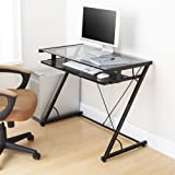 Amazon world map computer desk multiple colors office products mainstays solar glass top desk black gumiabroncs Gallery