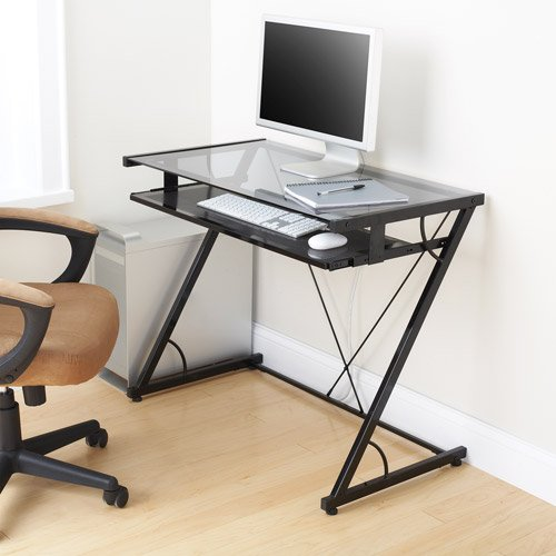 Mainstays Solar Glass-top Desk, Black by Mainstay