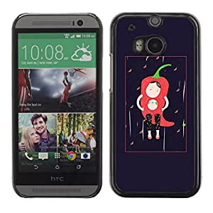 LASTONE PHONE CASE / Slim Protector Hard Shell Cover Case for HTC One M8 / Cool Character Black Minimalist Chili