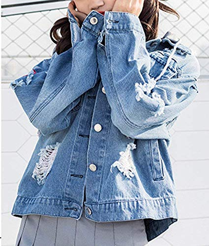 Ragazza Jeans Elegante Mantello Fashion Manica Button Strappato Cappotto Outerwear Moda Primaverile Autunno Giacche Lunga Donna Cappuccio Denim Bavero Casual Giacca Bild Con Als WFxqnPw0vY