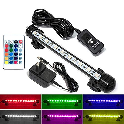 MingDak LED Aquarium Light Kit for Fish Tank,Underwater Submersible Crystal Glass Lights Suitable for Saltwater and Freshwater,6 RGB SMD 5050 LEDs,Color Changing Flexible Lighting,7.5-inch