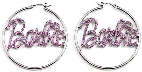 Silver Color Large Hoop Pin Catch Barbie Earrings With All Pink Rhinestones