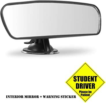Car Universal Rear View Suction Cup Mirror Learner Driver Stick On Interior Wide