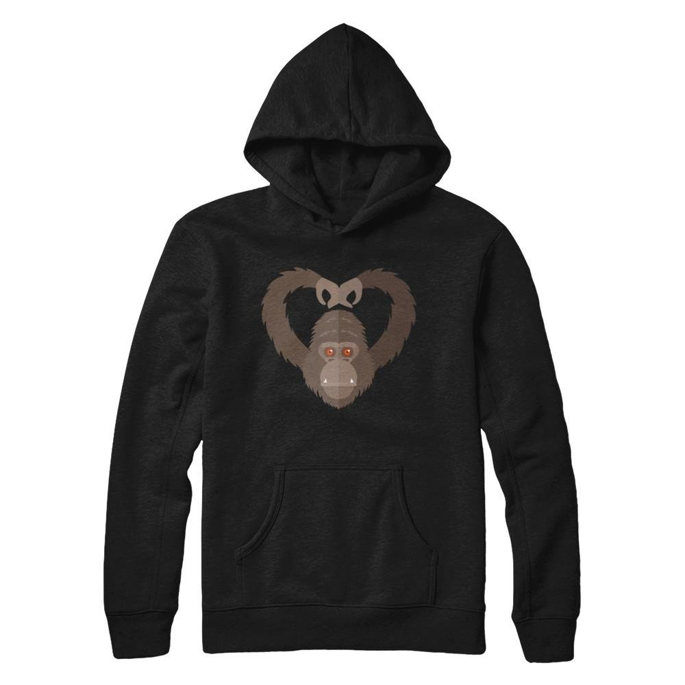 Teely Shop Womens Womans I Love Gorilla APE Animal Lover Gildan Pullover Hoodie