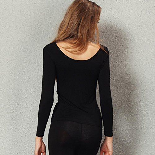 Liang Rou Women's Plain Basic Scoop Neck Thin Stretch Long Sleeve Top Black S XS-S (0 2 4 6) 1 Piece Black by Liang Rou (Image #4)