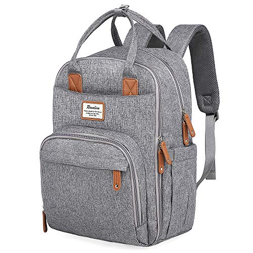Diaper Bag Backpack, Large Capacity Baby Bag for Mom and Dad Stylish Multifunction Travel Nappy Back Pack for Boys and Girls, Gray