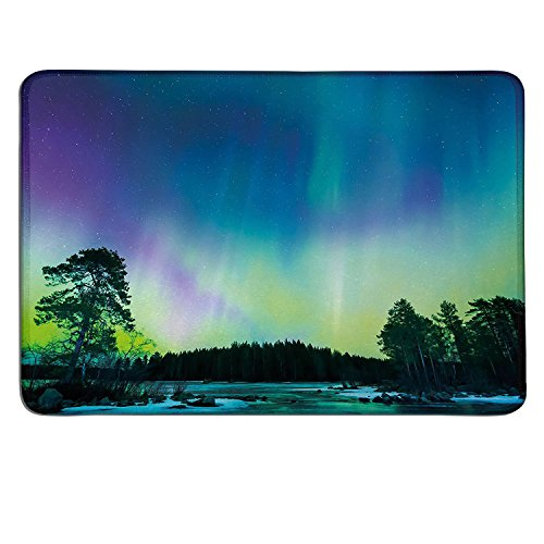 Northern Lights small mouse pad Sky over Lake Surrounded Forest Woods Hemisphere Printcustomize mouse pad Violet Blue Lime Green Purple