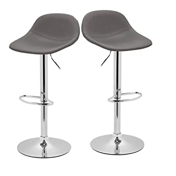 Incredible Adjustable Swivel Barstools With Back For Home Bar Kitchen Counter New Modern Grey Pu Leather Hydraulic Bar Chair Set Of 2 Hold Up To 350Lb Unemploymentrelief Wooden Chair Designs For Living Room Unemploymentrelieforg