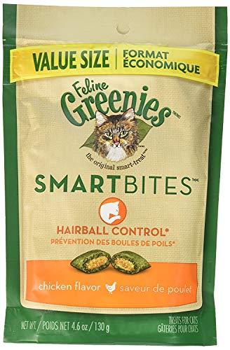 Greenies (6 Pack) Feline SMARTBITES Hairball Control, Chicken Flavor (4.6 oz Per Pack)