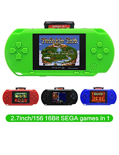CZT 2.7 Inch 16 Bit SEGA Video Game Console Retro Game Handheld Player Portable Game Console Free 156 SEGA Games for Kids Gift Rechargeable Lithium Battery (Green)