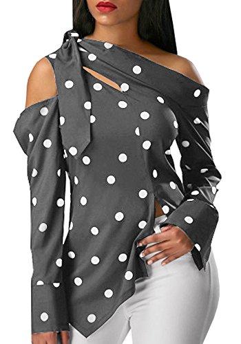 Ybenlow Women Summer Cold Shoulder Vintage Polka Dot Print Pullover Shirt Top Blouse
