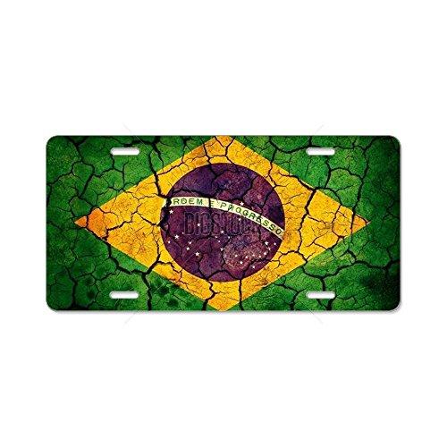(CafePress - Brazil Flag Aluminum License Plate - Aluminum License Plate, Front License Plate, Vanity Tag)