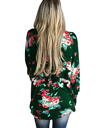 Gielt Styledome Tops Blouse Cardigan Irrégulier Pull Longues Imprimé Manches Vert Femme Casual Floral rvqw1SxrR4