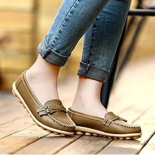 Summerwhisper Donna Casual Cintura Fibbia Slip-on Driving Boat Scarpe Mocassini In Pelle Color Kaki