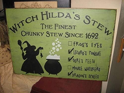 Witch Hilda's Stew Handpainted Primitive Wood Sign Wall Hanging Home Decor Halloween Wicca Wiccan 11.25 by 16 inch for $<!--$27.00-->