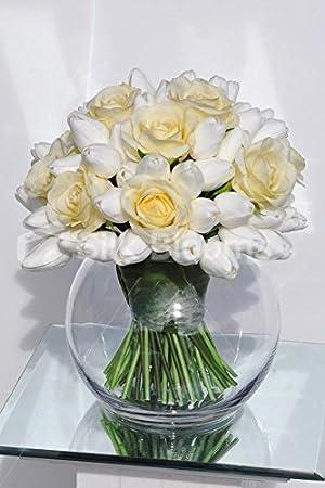 Elegante paperbaker Artificial rosa y Tulip pecera arreglo Floral: Amazon.es: Hogar