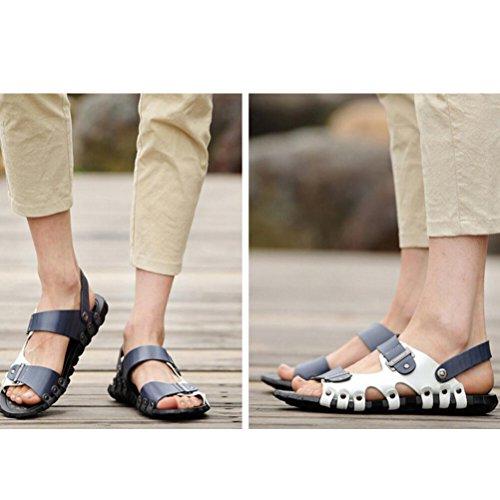 blu Uomo Spiaggia Mallimoda Sandal Pelle Stile Estate 1 Scarpe Casual Infradito qwdvwURn