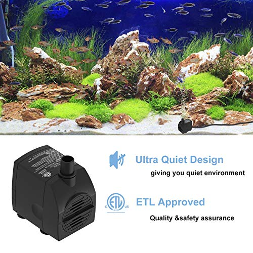 Submersible Water Pump 6 1ft Power Cord 200GPH Ultra Quiet Pump with Dry  Burning Protection for Fountains, Hydroponics, Ponds, Statuary, Aquariums &