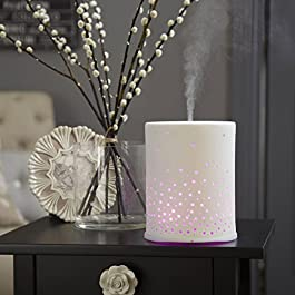 SOPHIE Hand Crafted Ceramic Ultrasonic Aroma diffuser : madebyzen : with Mood Lighting