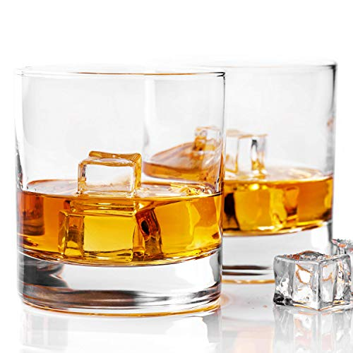 Taylor'd Milestones Whiskey Glass, Premium 10 oz Scotch Glasses, Set of 2 Rocks Style Glassware for Bourbon and Old Fashioned Cocktails