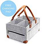 Large Diaper Caddy Organizer with Zipper Pocket & Changing Pad - Great for Nurseries & Cars