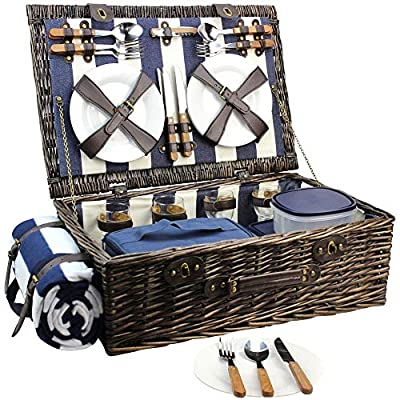 HappyPicnic Extra Large Willow Picnic Basket with Service Set for 4 Persons, Natural Wicker Picnic Hamper with Free Food Cooler, Fleece Blanket and Tableware - Best Gift