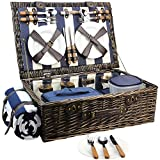 HappyPicnic Extra Large Willow Picnic Basket with