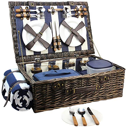 HappyPicnic Extra Large Willow Picnic Basket with Service Set for 4 Persons, Natural Wicker Picnic Hamper with Free Food Cooler, Fleece Blanket and Tableware – Best Gift