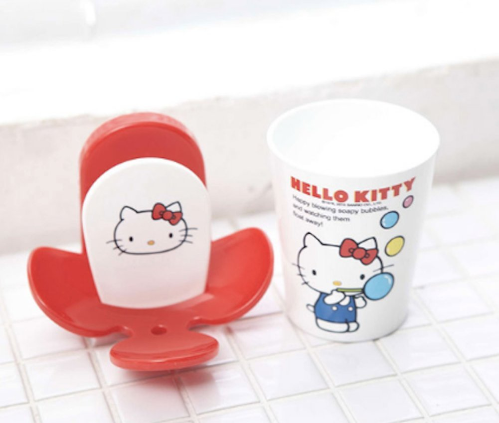 Saniro Hello Kitty 2-in-1 Rinse Tumbler Cup and Toothbrush Holder Wall Mirror Mount