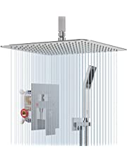 SR SUN RISE Brushed Nickel Shower Faucet Ceiling Mount Bathroom 12 Inches Rain Mixer Shower Combo Set Ceiling Install Rain Shower Head System CA-BDC1203
