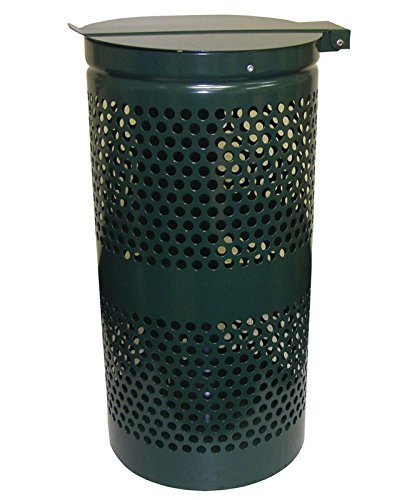 DOGIPOT 1206-L Trash Receptacle with Stainless Steel Lid and Liner Trash Bags, Steel