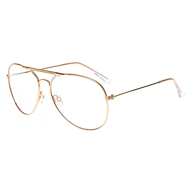 40ac5877a9 Claire s Girl s Rose Gold Metal Aviator Glasses Clear  Claire s  Amazon.co. uk  Clothing