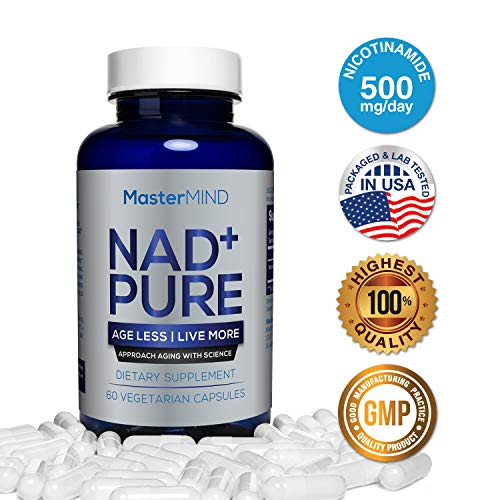 NAD+ Pure (500mg) I Nicotinamide Supplement I NAD+ Booster | Natural Cell Repair, Anti Aging, Energy, Boost Metabolism, Muscle Recovery, Brain Nootropic, Reduce Stress I Vitamin B3 I 60 Capsules