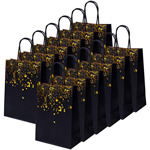Cooraby 20 Pieces Paper Party Bags Bronzing Kraft Bag Hen Party Bags Bride Bag with Handle for Birthday Wedding Celebrations Party Favors - Gold Favor Bags