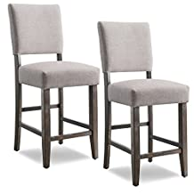 Leick 10086BB/HG Wood Upholstered Back Counter Height Barstool, Heather Grey Seat, Set of 2