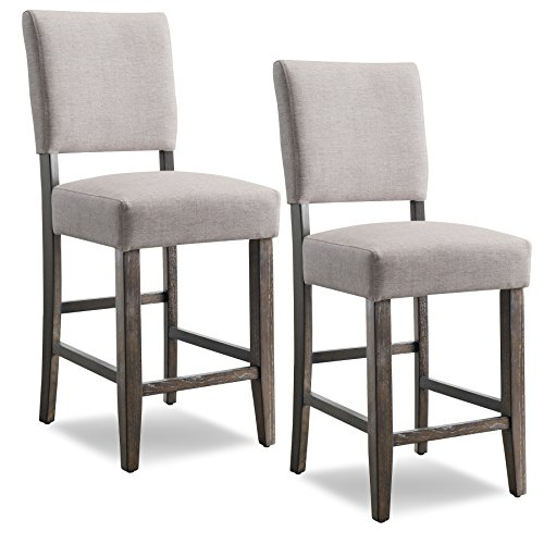 Leick Upholstered Back Counter Height Barstool (Set of 2), Grey (Island Kitchen Chairs)