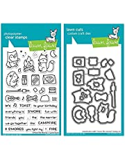 """Lawn Fawn S'More The Merrier 4""""x6"""" Clear Stamp Set and Coordinating Dies (LF2593 LF2594)"""